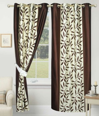 SLV Home Decor Polyester Brown Floral Eyelet Long Door Curtain