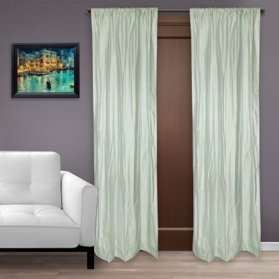 Marmitte Silk Green Plain Rod pocket Long Door Curtain