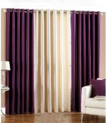 Home And Craft Polyester Purple Floral Eyelet Door Curtain