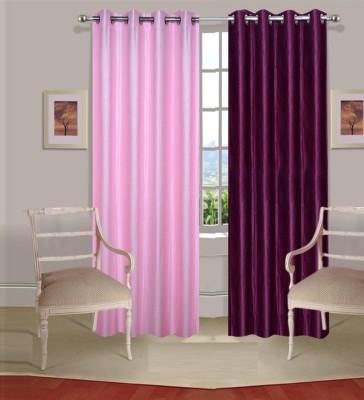 Excel Bazaar Polycotton Light-Pink-Wine Plain Eyelet Door Curtain