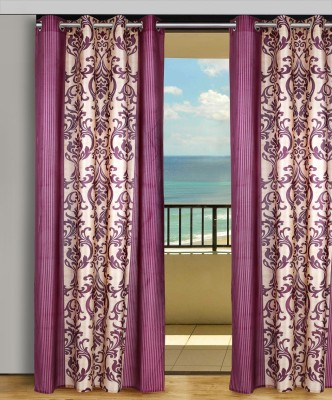 Home Aid Polyester Beige-Wine Abstract Eyelet Door Curtain