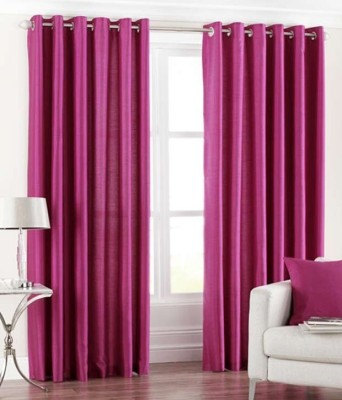 The Decor Store Polyester Pink Plain Eyelet Long Door Curtain