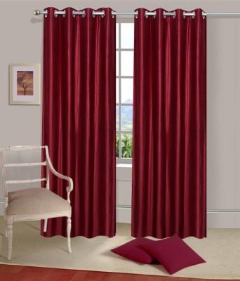 Home Fantasy Polyester Maroon Plain Eyelet Window Curtain
