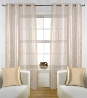 Fabutex Tissue White with Cream Floral Eyelet Door Curtain(213 cm in Height, Pack of 2)
