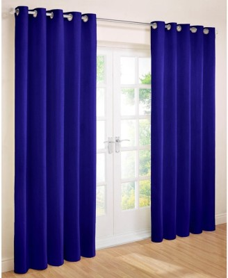 Shopgalore Polyester Blue Plain Eyelet Long Door Curtain
