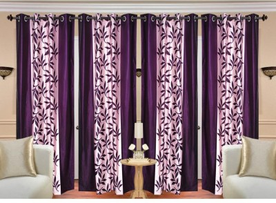String Polyester Purple Floral Eyelet Door Curtain