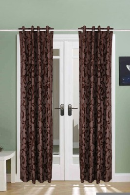 The Handloom Store Polyester Brown Self Design Eyelet Long Door Curtain