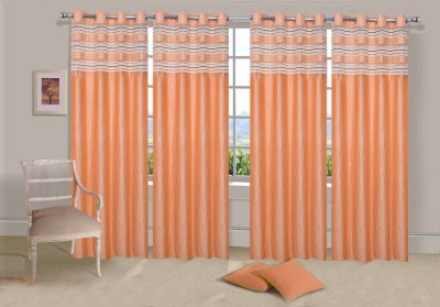 Ville Style Polyester Yellow Solid Eyelet Door Curtain