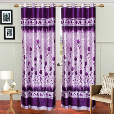 Fresh From Loom Polyester Purple Floral Curtain Door Curtain