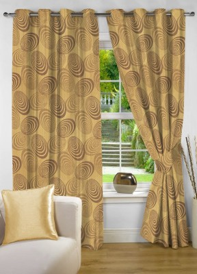 NuHome Decor Polyester Gold Abstract Eyelet Long Door Curtain