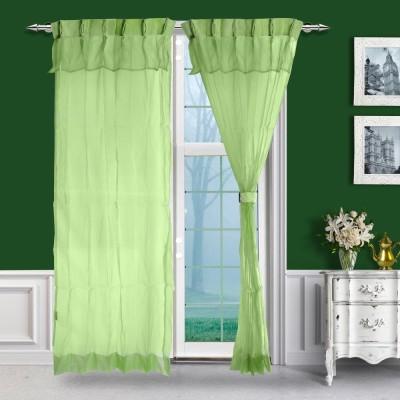 Just Linen Polyester Green Solid Ring Rod Door Curtain