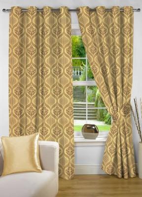 NuHome Decor Polyester Gold Motif Eyelet Window Curtain