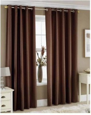Sls Dreams Polyester Choclate Plain Eyelet Long Door Curtain