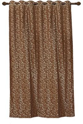 Mahamantra Polyester Brown Floral Eyelet Door Curtain