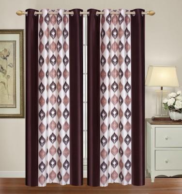 HomeTex Polyester Dark Brown, Silver Printed Eyelet Door Curtain