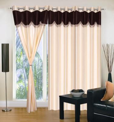 Maa Sharda Exports Polyester Cream Self Design Eyelet Door Curtain