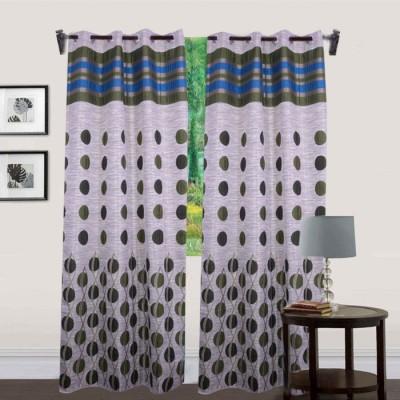 JTInternational Polyester Green Floral Eyelet Door Curtain