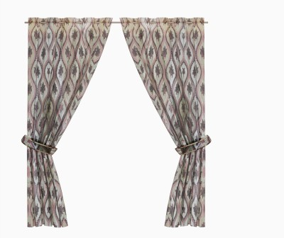 Zeneeze Decor Polyester Brown Floral Eyelet Window & Door Curtain