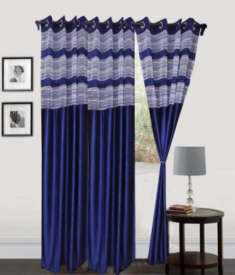 Hargunz Polyester Dark Blue Printed Eyelet Door Curtain