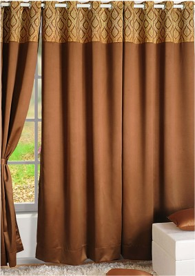 Swayam Silk Brown, Beige Printed Eyelet Door Curtain