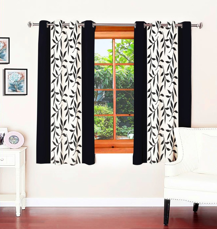 Optimistic Home Furnishing Polyester Black Floral Eyelet Window Curtain(150 cm...