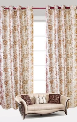 India Furnish Polycotton Gold Floral Eyelet Door Curtain