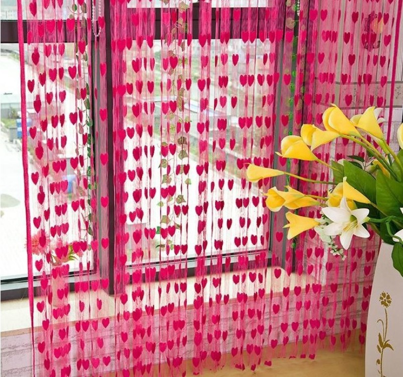 Gifthub Polyester Pink Printed Eyelet Window & Door Curtain(210 cm in Height, Pack of 2)