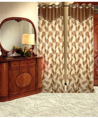 Handloomhub Polyester Brown Self Design Eyelet Long Door Curtain