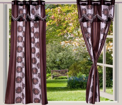 Desire Polyester Brown Striped Eyelet Window Curtain