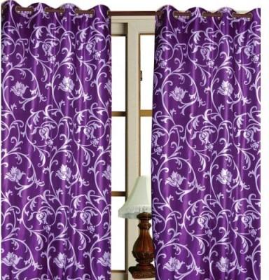 HandloomVilla Polyester Purpal Floral Eyelet Door Curtain