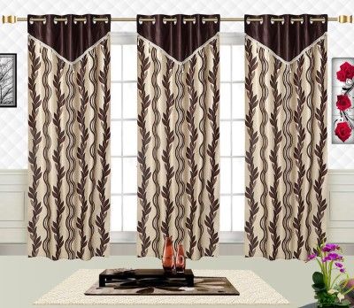 Comfort Zone Polyester Brown And Golden Leaf Floral Eyelet Door Curtain