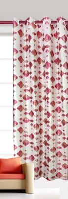 India Furnish Polycotton Maroon Floral Eyelet Long Door Curtain