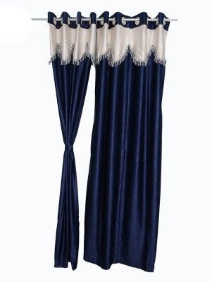 Jh Decore Polyester Navy Blue Solid Eyelet Window Curtain