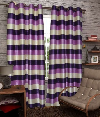 Fabbig Polyester Purple Striped Eyelet Door Curtain