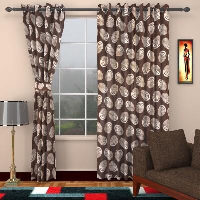 Sharda fabrics Polyester Brown Printed Eyelet Window & Door Curtain