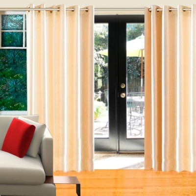 Home Candy Polyester Beige Motif Eyelet Door Curtain