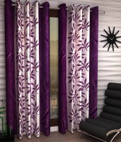 Home Pictures Polyester Purple Abstract Ring Rod Door Curtain(213 cm in Height, Pack of 2)