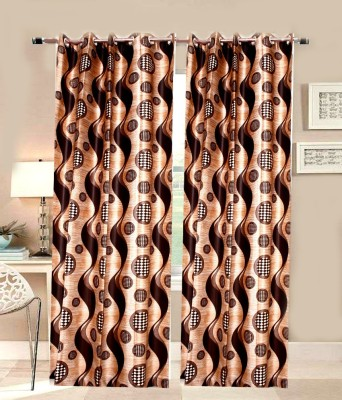 ALAGH FASHIONS Polyester Coffee Printed Eyelet Door Curtain