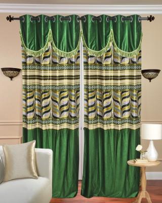 Daddyhomes Polyester Green Printed Eyelet Door Curtain