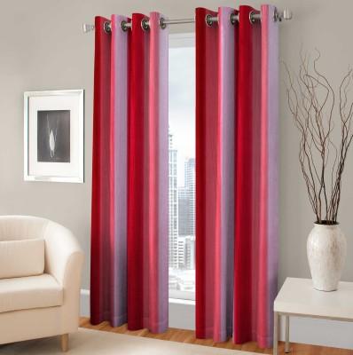 BSB Trendz Polyester Red Printed Eyelet Window Curtain