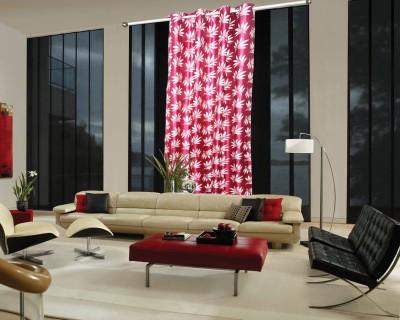 OsianArts Pink Abstract Eyelet Window Curtain