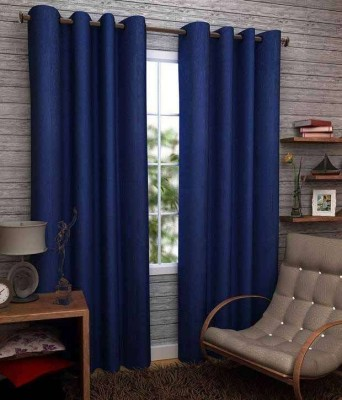 RS Quality Polyester Blue Plain Eyelet Window & Door Curtain