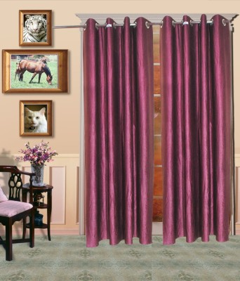 HandloomVilla Polyester Purple Solid Eyelet Door Curtain