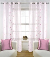 Fabutex Tissue White with lavender Floral Eyelet Door Curtain(213 cm in Height, Pack of 2)