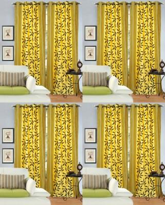 Decor Vatika Polyester Yellow Abstract Eyelet Door Curtain