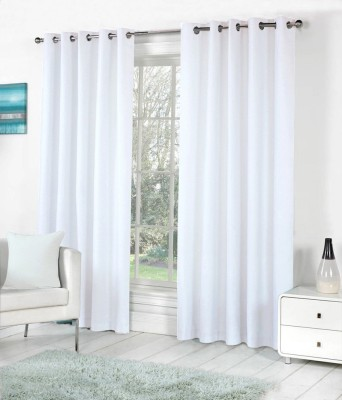 The Decor Hub Polyester White Plain Eyelet Long Door Curtain