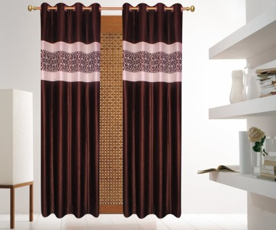 Batham Sales Blends Brown Plain Eyelet Door Curtain