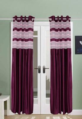 The Handloom Store Tissue, Polyester Purple Plain Eyelet Window & Door Curtain
