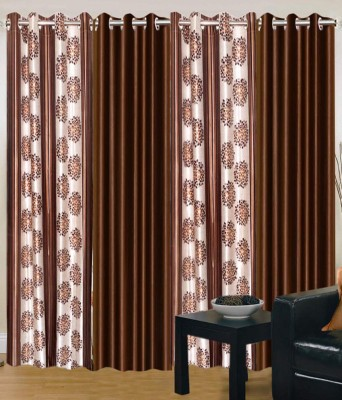 Jai Ganga Eyelet Door curtains Polyester Coffee Printed Eyelet Door Curtain