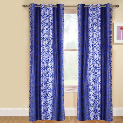 kaka furnishings Polyester Blue Printed Eyelet Long Door Curtain